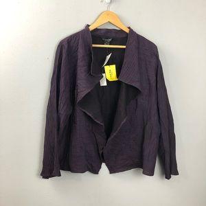 Citron Purple Crinkle Open Jacket Cardigan